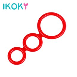 Wholesale Three Ring Cock Cage - Wholesale- IKOKY Silicone Cock Rings Delay Ejaculation Lasting Sex Toys for Men Male Penis Rings Three Cock Cages Male Chastity Device