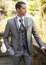 Wholesale Tuxedo Designs For Wedding - Wholesale- Latest Coat Pant Designs 2016 Men Suits Wedding Groom Silver Shine Material 3 Pieces Wedding Suits For Men Tuxedo