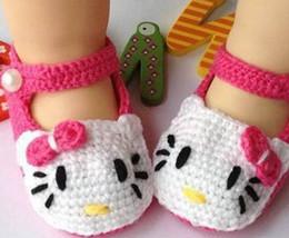 Wholesale Fabric Damask - Wholesale- Lovely Baby Girl Toddler Newborn Damask Handmade hello kitty Soft Crib Shoes Non Slip Shoes