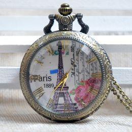 Wholesale Transparent Dressed Womens - Wholesale- Pocket Watch Bronze Paris Roman Numeral Eiffel Tower Transparent Cover Quartz Analog Pendant Necklace Mens Womens Gifts