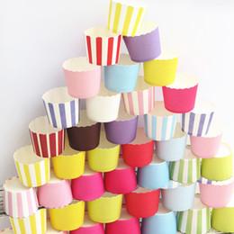 favores de la rosa azul Rebajas Al por mayor-50pcs Pure Rose Pink Yellow Blue Green Purple White Stripe cupcake pastel de papel de la hornada de la boda favores de la fiesta de cumpleaños de la boda