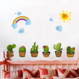 Wholesale Wall Cling Decoration - Cacti Wall Stickers Family Houseroom Backdrop Decor DIY Children Bedroom Decoration Green Botany Autohesion Walls Decal 3 2hl C R