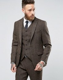 Wholesale Three Button Cotton Blazer - latest Coat Pant Designs Winter Brown Tweed Men Suit Tuxedo Slim Fit Skinny 3 Piece Blazer Custom Groom Suits Terno Masculino
