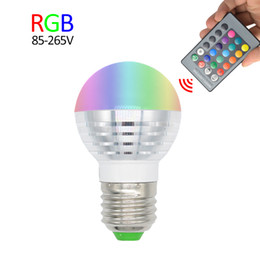 Wholesale E27 Led Rgb Power - E27 E14 LED Bulb 3W 220V 110V Spotlight IR Remote Control RGB Bombillas Ampoule LED Bulb