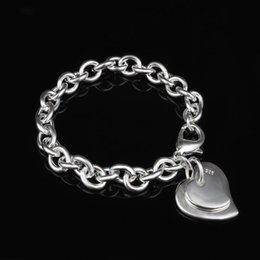 Wholesale Invisible Cards - 925 Jewelry Silver Plated Bracelet Fashion Jewelry Bracelet The Double Heart Cards Shrimp Buckle Bracelet Ajua Jbba #Y