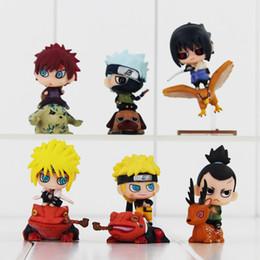 Wholesale naruto sasuke figures - 6 Kind Naruto Q Version Naruto Sasuke Yondaime Minato Gaara Kakashi Shikamaru pvc figure Model Toys