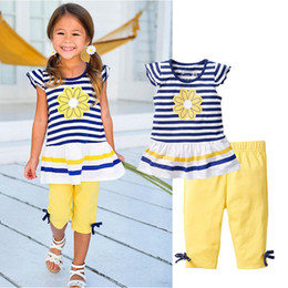 Wholesale Teens Suits - Wholesale- Toddler Girls Clothes Kids Stripe Print Flower T-shirt+Pants With Bow Beach Wear Suit For Teens Girl Children Clothing Set CF104