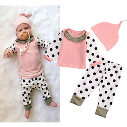 Wholesale Top Blouse Pant Set - NWT 2017 INS Cute Baby Girls cotton Outfits Spring Autumn 3piece Set Long Sleeve Shirts Tops Blouse Lace Collar + Polka Dots Pants + Hats