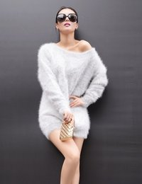 Wholesale Korean Cashmere Sweater Dress - Wholesale- New winter custom Korean women Plush mink cashmere sweater plump long pullovers loose coat dress free shipping S242
