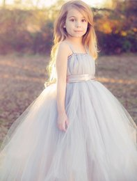 Wholesale Usa Wedding Dresses - 2017 tulle gray baby bridesmaid flower girl wedding dress fluffy ball gown USA birthday evening prom cloth party dress