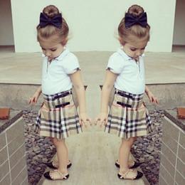 Классическая одежда для девочек онлайн-горячие продажи девушки футболки + плед юбка набор детские хлопок одежда детская рубашка топы наборы одежды дети детская одежда классический стиль высокое качество
