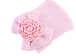 Wholesale Big Flower Hats - NEW newborn big bowknot flowers pearl knitted hats children photography props hats infant headband