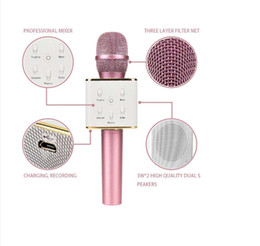 Wholesale Outdoor Songs - Q7 Magic Karaoke Microfone K Song Mini Portable Wireless Bluetooth speaker Microphone Power Bank Outdoor home KTV 30PCS LOT
