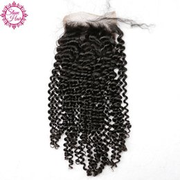 Wholesale Afro Hair Party - Slove Hair Kinky Curly Closure With Baby Hair 4*4 Natural Color Lace Closure Afro Kinky Curly Brazilian Virgin Human Hair Closure