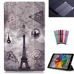 Wholesale Print Screen Protector - Wholesale- for LG G pad 3 8.0 V525 8'' tablet case cover for LG G pad 8.0 V525 folio PU leather print case+screen protector+stylus