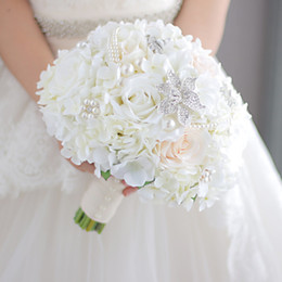 Wholesale Diy Bride Bouquet - Modabelle New ivory and coral wedding bridal bouquet brooch bouquet groom corsage bridesmaid wrist flower artificial flower silk DIY decor