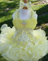 Wholesale Cupcake Collars - Halter bow yellow beaded necklace Ruffle organza ball gown cupcake toddler little girls pageant dresses flower girls for weddings glitz