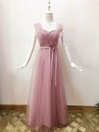 Wholesale Dusty Rose Gowns - Dusty Rose Tulle Long Important Party Dresses Lace Up Bohemian Spring Summer Bridesmaid Dresses Long Prom Gowns Noiva Festa