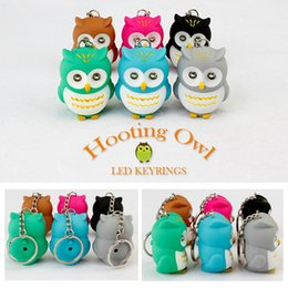 Wholesale Kawaii Key Hooks - Wholesale- Kawaii Toys LED Key Chain Torch Animal Owl Pendant Keyring with Sound and Light Owl Hooking Key Rings Fun Child Gift