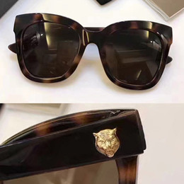 Wholesale Head Goggles - 0029S Luxury Brand Designer Hot Women Style Square Cool Tiger Head on Lens 0029 Plank Material Top quality Fashion UV Protection 400