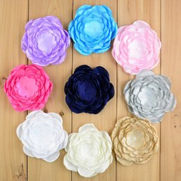Wholesale Large Handmade Flowers - free shipping 30pcs lot New fashion Handmade Large 7 Layers Burned Satin Flowers DIY Bridal Bouquet Baby Girls Hair Accessories H0138