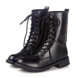 Wholesale Pig Large - 2017 autumn and winter women European and American flat black motorcycle boots women boots large size boots women size 35-42