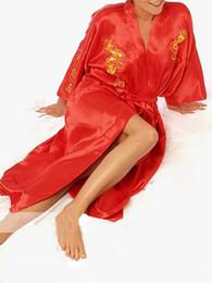 manto de seda vermelha chinesa Desconto Atacado-Moda de nova mulheres Red chinês de cetim bordado de seda Robe Kimono vestido de banho dragão tamanho S M L XL XXL XXXL frete grátis S0010 #