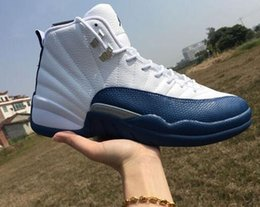 Wholesale Perfect Beige - Drop Shipping Super Perfect Quality 12 Flu Game French Blue The Master With Box Men Basketball Sport Shoes Ship out in 2days