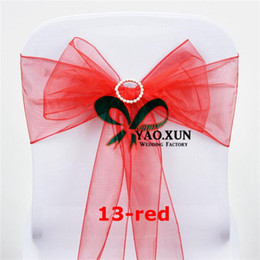 Wholesale Tie Organza Chair Bow - Organza Chair Sash \ Chair Tie Bow Include Buckle For Chair Cover Decoration
