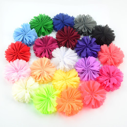 Wholesale Sunflower Flower Girls Dresses - free shipping 30pcs lot 6.5CM Multi-colors Sunflower Chiffon Fabric Flowers DIY Baby Girl Hair Band Accessories Dress Cloth Decoration H0240