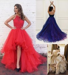 Wholesale Twinkle Tulle - Amazing Backless High Low Prom Dresses Twinkle Beaded Halter Neckline Ruffled Tulle Evening Gowns Gala Major Formal Dresses High Quality