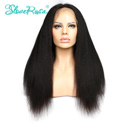 Wholesale Yaki Remy Hair Full Lace - Slove Rosa Products Kinky Straight Full Lace Human Hair Wigs Brazilian Remy Hair Italian Yaki African American Hair Wigs