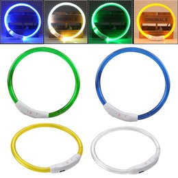 Wholesale Rechargeable Led Dog Collar - Wholesale- Rechargeable USB Waterproof LED Luminous Light Band Outdoor Dog Collars Night Flashing Novelty Light 3 Modes