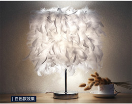 Wholesale Iron Switch - Feather table lamp bedroom bedside lamp simple modern romantic creative European Princess marriage room warm warm warm bedside lamp