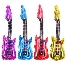 Wholesale Guitar Balloons Sticks Wholesale - Fashion Music Concert Guitar Aluminum Balloon Automatic Sealing Cheering Stick With Bell 83CMX30CM Birthday Party Decoration Toys Supplies