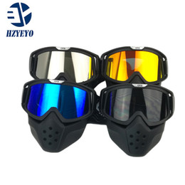 Wholesale Helmets For Moto - Motorcycle Helmet Mask Detachable Goggles And Mouth Filter for Modular Open Face Moto Vintage Helmet Mask MZ-003