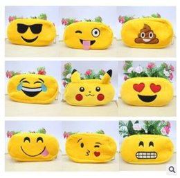Wholesale Writing Fabric - Pencil Bags Emoji Poke Plush Zipper Cosmetic Bag 46 Styles Pouch Writing Supplies Office School Stationery bag Free Shipping