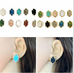 Wholesale Drusy Stud Earrings - Fashion Druzy Drusy Square stud Earring 10 Colors Gold silver Plated natural stone drusy Ear Stud for Women Girls Jewelry