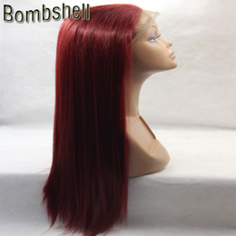 Wholesale Straight Red Lace Front Wigs - Bombshell Heavy Dark Wine Red Burgundy Straight Synthetic Lace Front Wig Glueless Heat Resistant Fiber For Black White Women