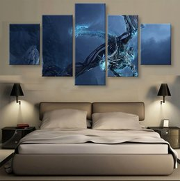 Wholesale Traditional Dragon Paintings - 5 Panels Unframed Wall Art Painting Ice Dragon Hanging in Home Decoration