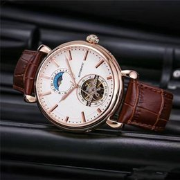 Wholesale Mens Watches Automatic Genuine - 2017 New Listing V Brand Luxury Mens watches Moon Phase Flywheel Mechanical Automatic mechanical Movement Real Genuine Leather belt