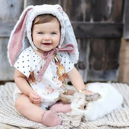 Wholesale Wholesale Printed Jumpsuits Rompers - Cartoon Baby Rompers New Summer Bodysuit Buny Polka Dots Ruffle Infant Onesie Cute Rabbit Printed Newborn Jumpsuit C1527