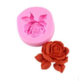 Wholesale Flower Chocolate Molds - Rose Flower Shaped Silicone Soap Molds 3D Non-Stick Handmade Chocolate Candy Mold Fondant Cake Decorating Tools 351