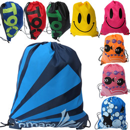 Wholesale Simple Beach Clothing - Outdoor Walking Pack Beach Gym Swimming Pool Simple Storage Bag Oxford Drawstring Bags Smiling Face Pattern Sports Backpack