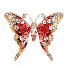 Wholesale Bridal Clips Brooches - Christmas Gift Luxury Butterfly Brooch Suit Scarf Clip Women Dress Wedding Bridal Lapel Pin Party Jewelry rhinestone brooch
