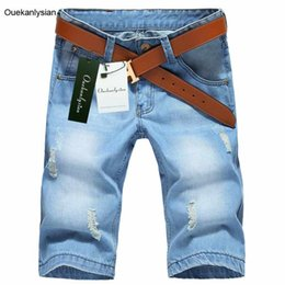 Wholesale Thin Overalls - Wholesale- Ouekanlysian Summer Jean Short Men Scratched Ripped Knee Length Short Jean Casual Straight Thin Denim Overalls Light Washed Jean