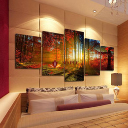 Wholesale Home Paintings - 5 Panel Forest Painting Canvas Wall Art Picture Home Decoration Living Room Canvas Print Modern Painting--Large Canvas Art Cheap