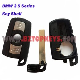 Wholesale Replacement Bmw Keys - 2PCS Smart Card Car key Shell replacement with emergency key 3button for BMW 3 5 series Keyless entry Key Case