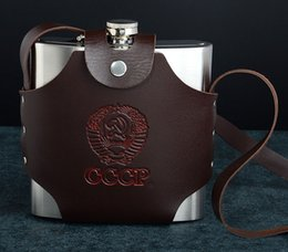 Wholesale Wrap Flask - 38 oz Large Capacity Stainless Steel Set Hip Flask CCCP Flagon PU Leather Wrapped Portable Shochu Drink Container