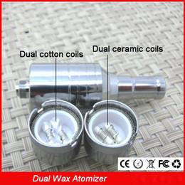 Wholesale Double Cartomizer - D-CORE double coils wax atomizer Ceramic Cotton rob wax vaporizer dual heating coil RDA wax cartomizer tank with 510 ego thread